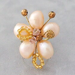 Handmade Pearl Flower Adjustable Ring (Thailand)