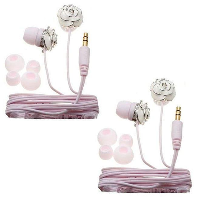 Nemo Digital White/ Pink Enamel Flower Earbud Headphones (Case of 2)