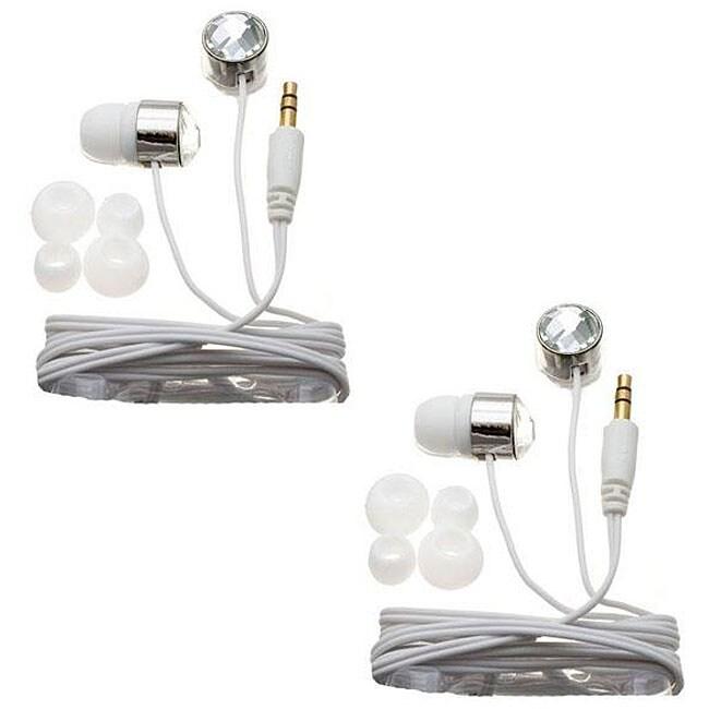 Nemo Digital White Crystal Stud Earbud Headphones (Case of 2)