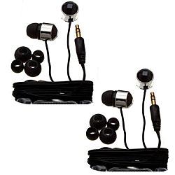 Nemo Digital Black Crystal Stud Earbud Headphones (Case of 2)