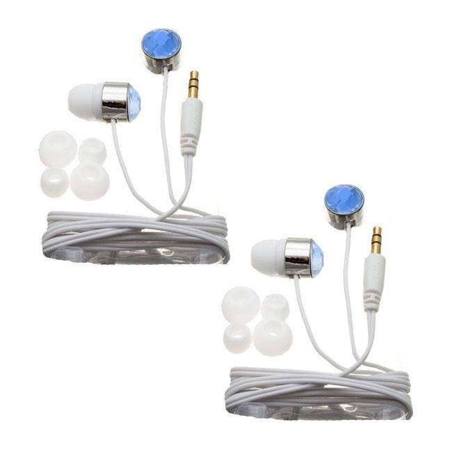 Nemo Digital Blue/ White Crystal Stud Earbud Headphones (Case of 2)