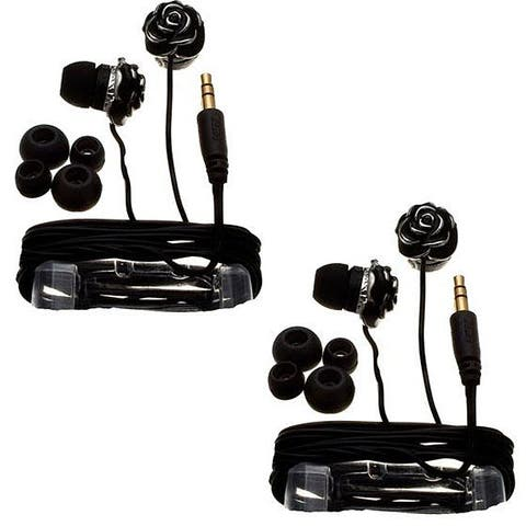 Nemo Digital Black Enamel Flower Earbud Headphones (Case of 2)