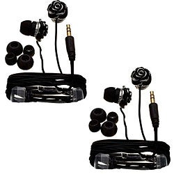 Nemo Digital Black Enamel Flower Earbud Headphones (Case of 2) - Thumbnail 0