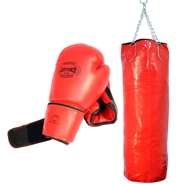 Pro Red 16-ounce Adult Boxing Gloves and Full-size Punching Bag