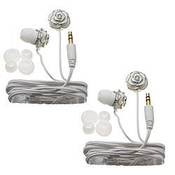 Nemo Digital White Enamel Flower Earbud Headphones (Case of 2)