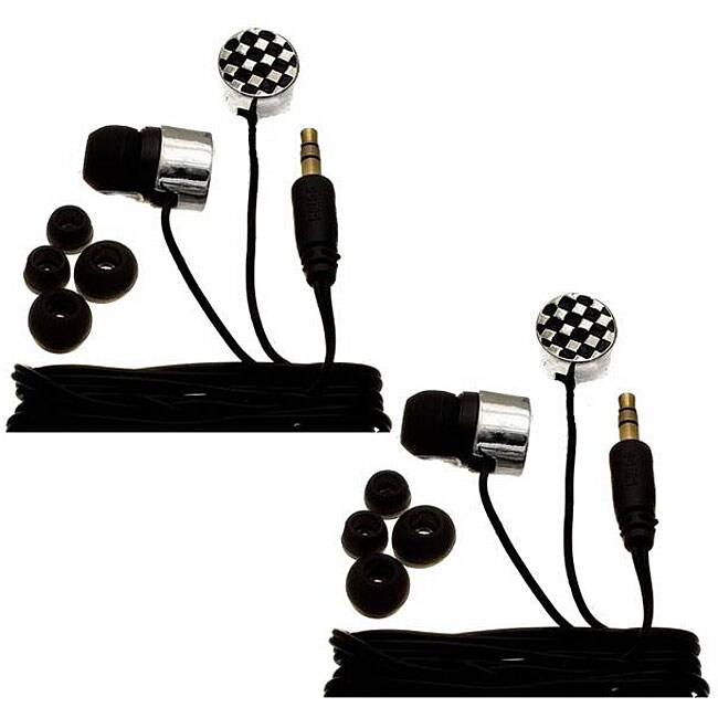 Nemo Digital Black/ White Checkerboard Earbud Headphones (Case of 2) - Thumbnail 0