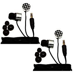 Nemo Digital Black/ White Checkerboard Earbud Headphones (Case of 2)