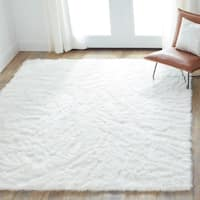 Clay Alder Home Newport Faux Sheepskin Ivory White Shag Area Rug - 5' x 7'6