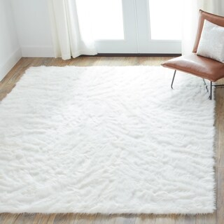 Jungle Faux Sheep Skin White Shag Rug (5' x 7'6)
