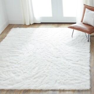 jungle faux sheep skin white shag rug 5u0027 x