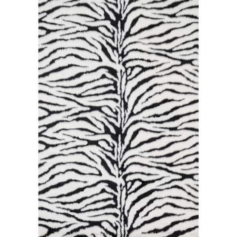 Jungle Zebra Print Shag Area Rug - 3' x 5'