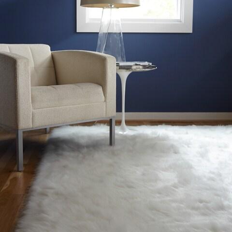 Clay Alder Home Newport Faux Sheepskin Ivory White Shag Area Rug - 3' x 5'