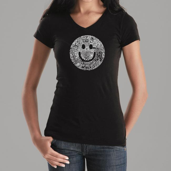 e313f6b34 Shop Los Angeles Pop Art Women's Smiley V-neck Tee - Free Shipping On  Orders Over $45 - Overstock - 5089891