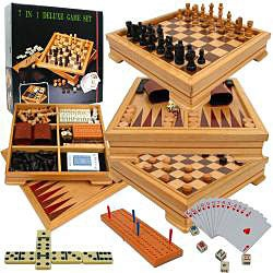 Wooden 7-in-1 Game Chess Backgammon Set - Thumbnail 1