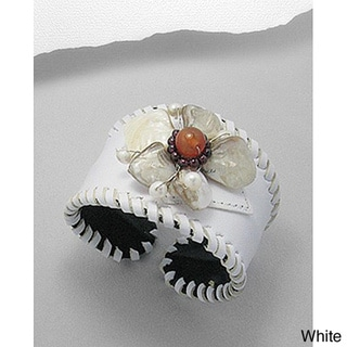 White/ Black/ Brown/ Red Leather Flower Gemstone Cuff Bracelet (Thailand)