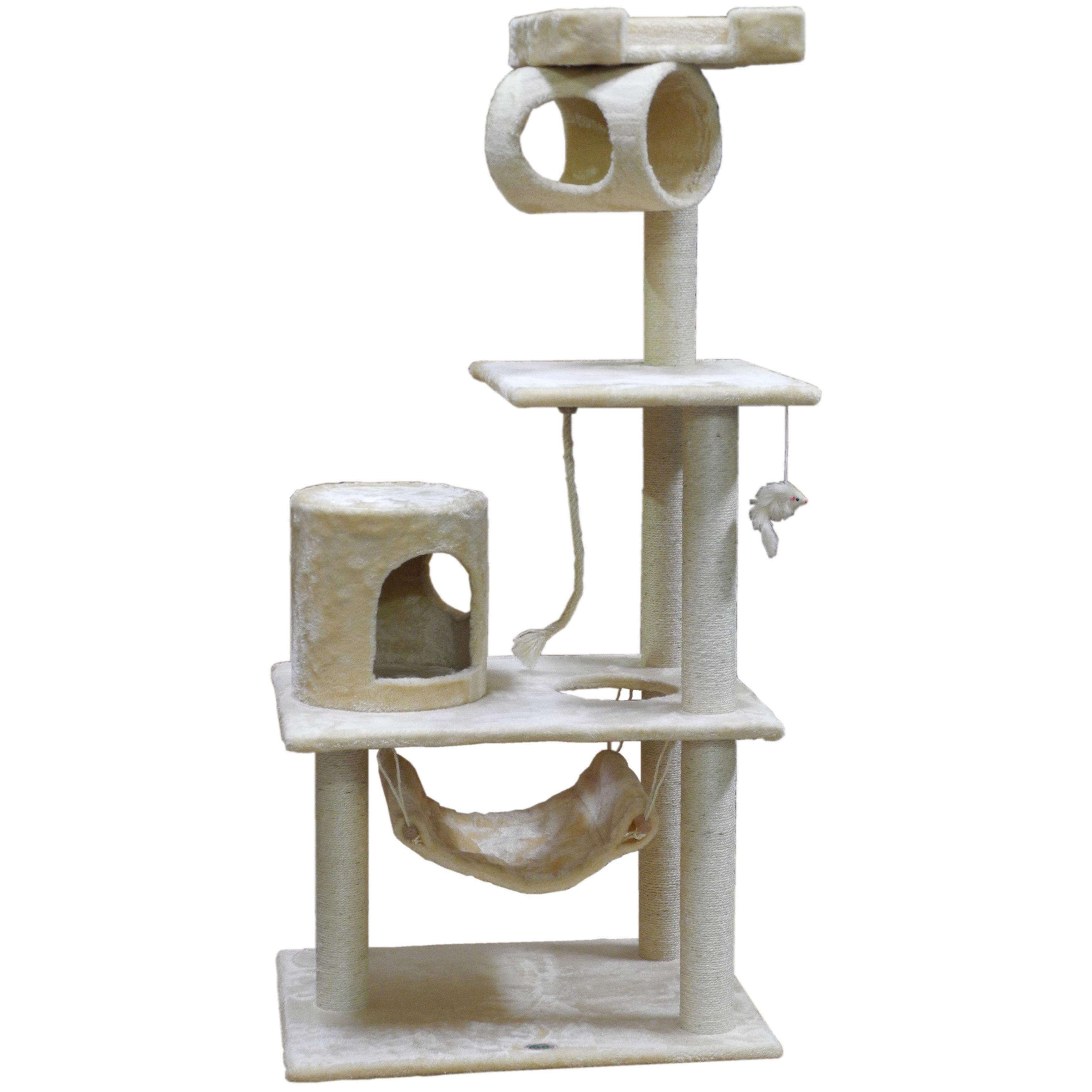 Go Pet Club Cat Tree Condo Scratcher 62-inch Furniture (Overall Size : 36W x 20L x 62H, Beige)