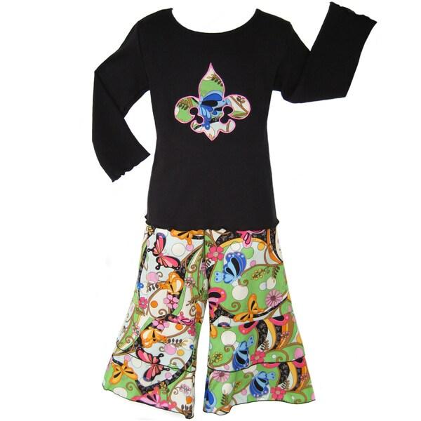 Ann Loren Boutique Girl's Fleur de Lis 2-piece Set