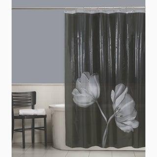 Maytex Tulip Photoreal Vinyl Shower Curtain - Black/White