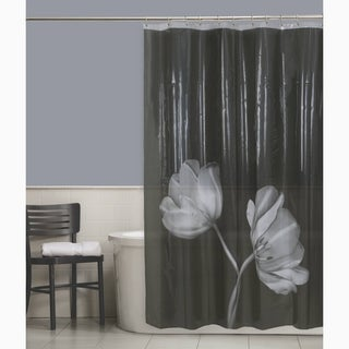 Maytex Tulip Photoreal Vinyl Shower Curtain - Black/White
