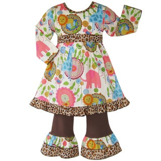 Ann Loren Boutique Girl's Jungle Dress and Pant Set
