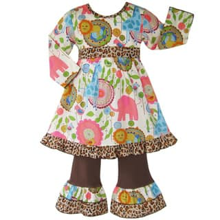 Ann Loren Boutique Girl's Jungle Dress and Pant Set|https://ak1.ostkcdn.com/images/products/5093405/5093405/Ann-Loren-Boutique-Girls-Jungle-Dress-and-Pant-Set-P12948259.jpeg?impolicy=medium