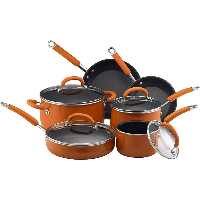 Rachael Ray Porcelain Nonstick Enamel 10-piece Orange Cookware Set