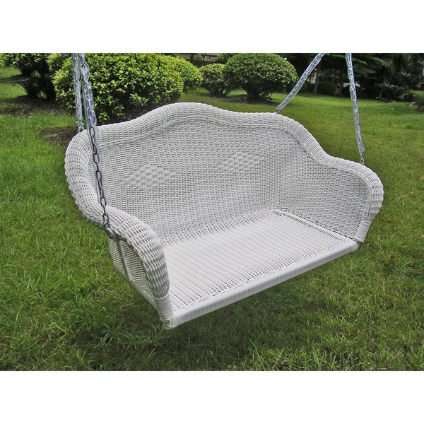 International Caravan Resin Wicker Hanging Loveseat Swing