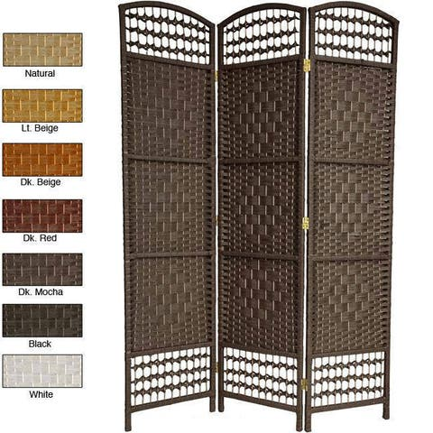 Handmade 5.5' Woven Wood and Fiber Room Divider
