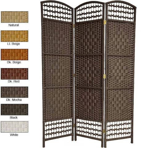 Handmade Woven Wood/ Fiber 5.5-foot Tall Room Divider (China)