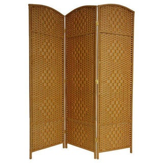 Handmade Wood and Fiber Diamond Weave 6-foot Room Divider