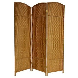 Handmade Wood/Fiber Diamond Weave 6-foot Room Divider (China)