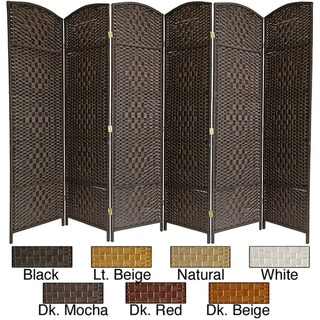 Wood/Fiber Diamond Weave 6-foot Room Divider (China)