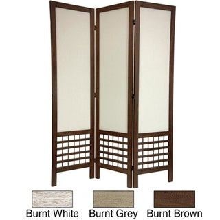 Handmade Wood/ Fabric Open Lattice 5.5-foot Room Divider (China)
