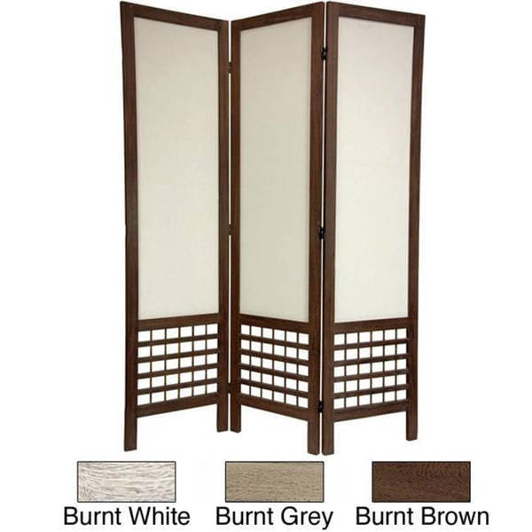 Handmade Wood/ Fabric Open Lattice 5.5-foot Room Divider (China)