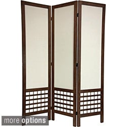 Wood/ Fabric Open Lattice 5.5-foot Room Divider (China)