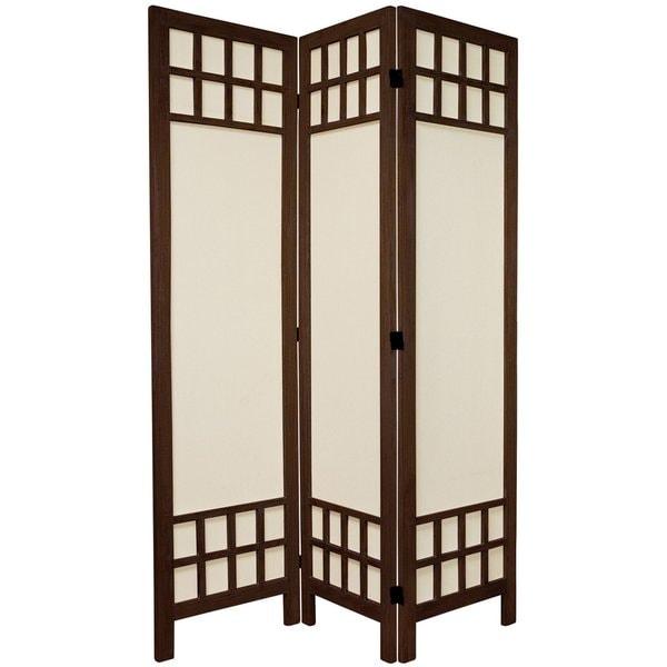 Handmade Wood/ Cotton Fabric Window Pane 5.5-foot Room Divider (China)
