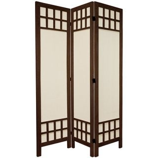 Handmade Wood/ Cotton Fabric Window Pane 5.5-foot Room Divider (China)