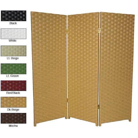4 Ft. Tall Handmade Natural Woven Fiber Three-panel Room Divider