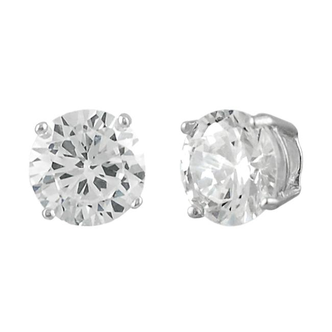 Journee Sterling Silver Round Clear 6mm CZ Stud Earring