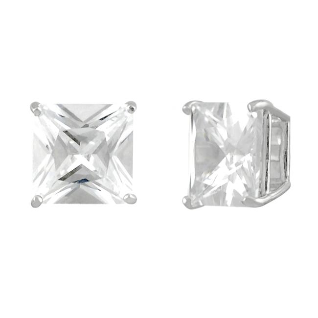 Journee Collection  Sterling Silver Square Clear 9mm CZ Stud Earrings