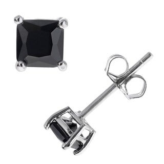 Journee Collection Sterling Silver Square Black 4mm CZ Stud Earrings