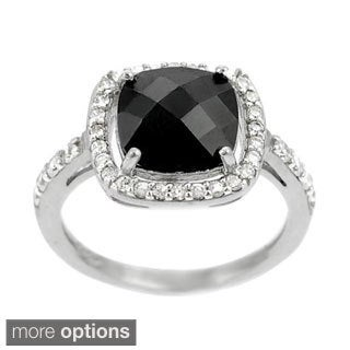 Journee Collection  Sterling Silver Black Cushion-cut Cubic Zirconia Ring