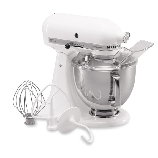KitchenAid RRK150WH White 5 Quart Artisan Tilt Head Stand Mixer  (Refurbished)   Free Shipping Today   Overstock.com   12949511