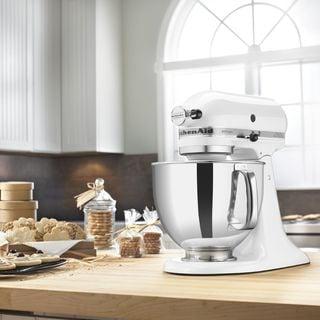 kitchenaid rrk150wh white 5 quart artisan tilt head stand mixer  refurbished  kitchenaid kitchen appliances for less   overstock com  rh   overstock com
