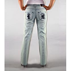 Institute Liberal Women's Light Blue Stretch Logo Pocket Jeans - Thumbnail 2