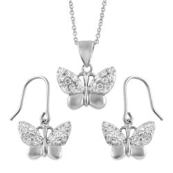Journee Collection Sterling Silver CZ Butterfly Necklace Earring Set