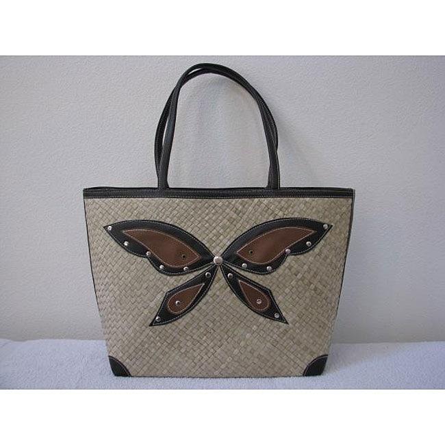 Handmade Pandanus Butterfly Tote Bag (Indonesia)