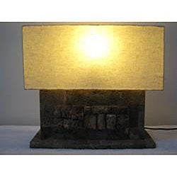 Lava Stone Table Lamp, Handmade in Indonesia