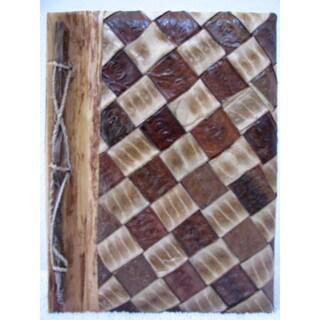 Handmade Rayon from Bamboo, Leaves and Bark Diagonal Checker Photo Album (Indonesia)