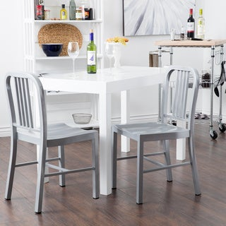 Jasper Laine Steel Silvertone Dining Chair (Set of 2)